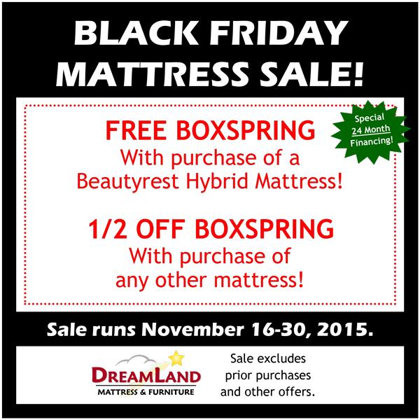 Black Friday Mattress Sale at Dreamland Mattress & Furniture in Myerstown near Lebanon, PA