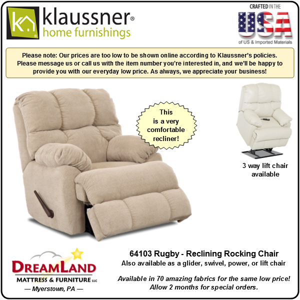 Dreamland Mattress Furniture Store Lebanon PA Recliner 64103 Rugby 1