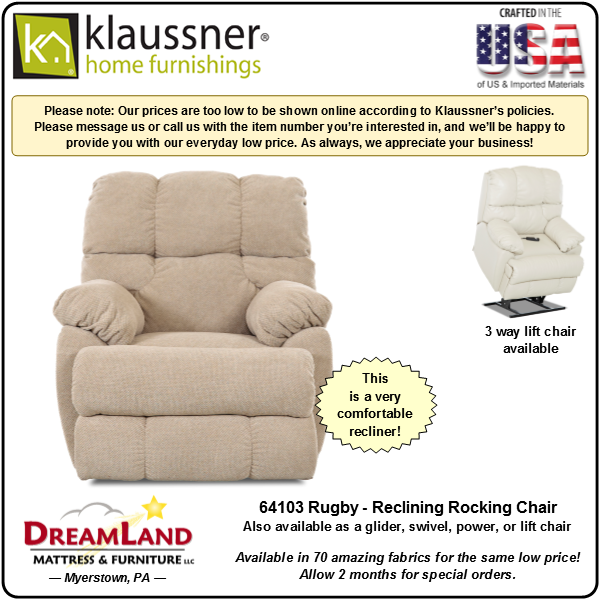 Dreamland Mattress Furniture Store Lebanon PA Recliner 64103 Rugby 2