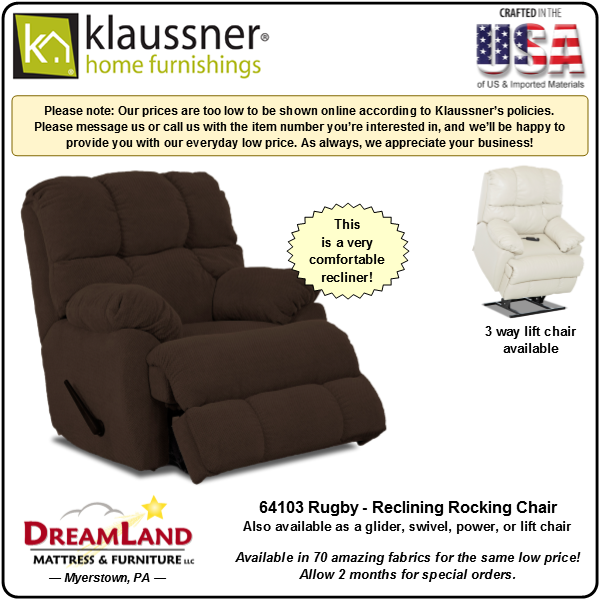 Dreamland Mattress Furniture Store Lebanon PA Recliner 64103 Rugby 3
