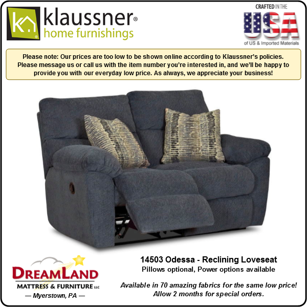 Dreamland Mattress Furniture Store Lebanon PA Reclining Loveseat 14503 Odessa 1