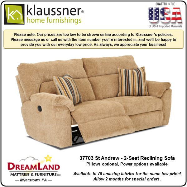 Dreamland Mattress Furniture Store Lebanon PA Reclining Sofa 37703 St Andrew 1