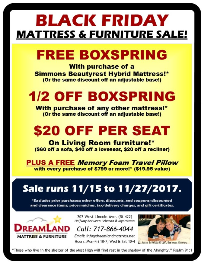 Black Friday Dreamland Mattress Furniture Sale Lebanon PA