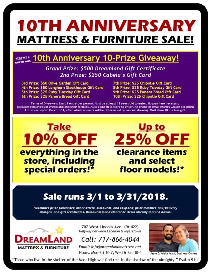 10th Anniversary Dreamland Mattress Furniture Sale Lebanon PA