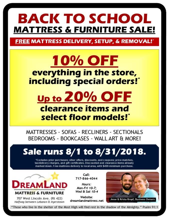 Dreamland Back To School Mattress & Furniture Sale Lebanon PA